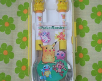 Vintage Early Pokemon Fork and Spoon Set. Pocket Monsters. Pikachu. Stainless Steel  and Hard Plastic. Sanrio Japan Pre Loved. Rare..
