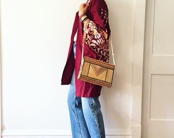 Vintage 70s Bamboo Box Bag, Wooden Bag, Summer Bag