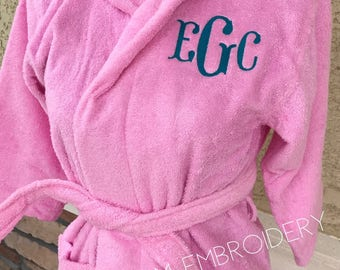 Personalized Kid's Terry Hooded Bathrobe with name or monogram