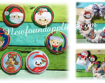 In The Hoop Christmas Felt Circles Tags Embroidery Machine Design