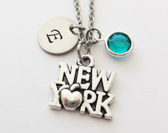 New York Necklace, I Love New York, NYC, NY Vacation Travel Gift, Swarovski Birthstone, Silver Initial, Personalized, Monogram, Hand Stamped