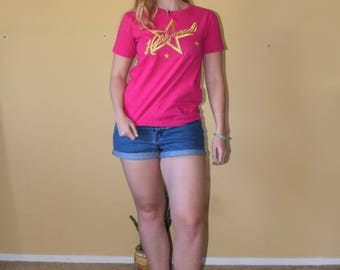 Hollyweird - Bright Pink Vintage Hollywood T Shirt in Gold Womens Size Small
