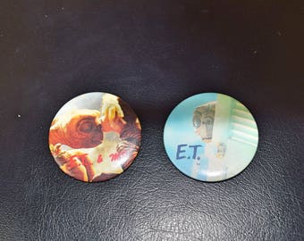 Set of Two Vintage E.T Buttons Pins