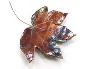 Raku leaf ~ ceramic wall art, ceramic leaf, raku leaves, wall decoration, hanging leaf, wall sculpture, pottery clay leaf, housewarming gift