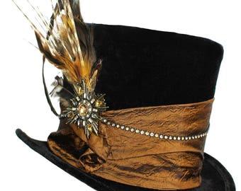 Tall Black Top Hat Ringleader Bronze Steampunk Gypsy Victorian Gentlemens Dapper Cosplay Mens