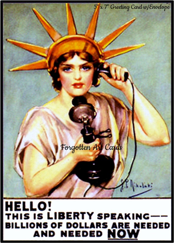 "Lady Liberty, WWI War Bonds Poster, 5""x7"" Greeting Card, Envelope, Statue of Liberty, Forgotten Art Card, Pretty Girl Postcards"