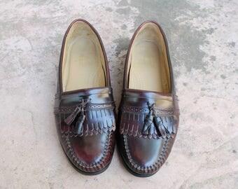 Vintage Mens 10.5d Bass Frazier Weejuns Plum Leather Slip On Loafers Fringe Tassel Double Kiltie Loafer Dress Shoes