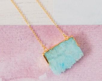 Agate Slice Necklace, Rough Gemstone Jewellery, Blue Agate Necklace, Gemstone Slice, Gemstone Slice Pendant, Blur Gemstone Pendant