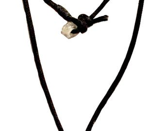 Handmade Rough Cut Clear Quartz Stone Pendant on a Black Cord Necklace with Bead Button Closure
