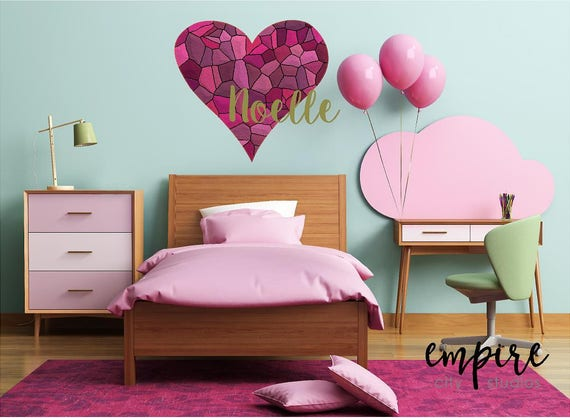 Pink Mosaic Tile Heart Decal-Pink Stained Glass Heart decal-Custom Name girls decal
