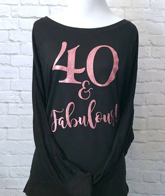 40 and Fabulous Rose Gold Glitter Flowy off the Shoulder Long Sleeve T-Shirt