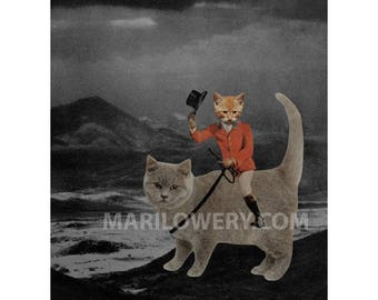 Orange Cat Art Paper Collage Print, Retro Art, 8.5 x 11 Inch Print, Animals in Clothes, Anthropomorphic, Weird Wall Decor
