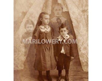 Creepy Halloween Decor Altered Vintage Photo Spirit Photography Ghostly Spooky 8.5 x 11 Inch Wall Art Print