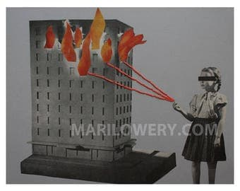 One of a Kind Paper Collage, Mixed Media, Retro Art on Paper, Gray and Orange,  11 x 8.5 Inch Weird Wall Decor, Fire Art