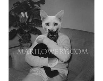 Black and White Cat Art Print, Cat in Clothes Wall Decor, Collage Print, 7x7 on 8.5 x 11 Paper, Weird Wall Art, frighten