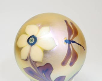 Vintage Signed Orient and Flume Iridescent Gold Aurene Dragonfly and Yellow Flower Art Glass Paperweight, Orient and Flume Dragonfly Glass