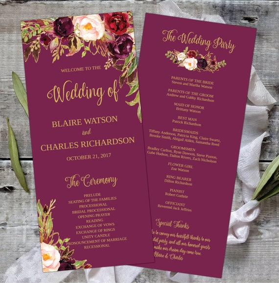 Wedding Program Template Printable Editable Floral Watercolor - Floral wedding program templates