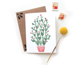 Heart Cactus Valentine's Day Card | Original Watercolor Crazy Cactus Lady V Day Card