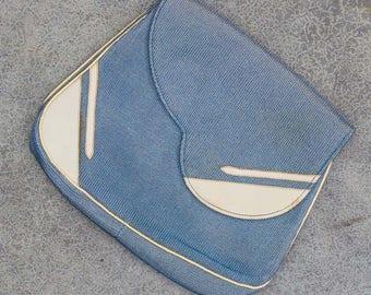 1940s Clutch Purse Little Blue Handbag Vintage Bag with Hand Strap 7VV