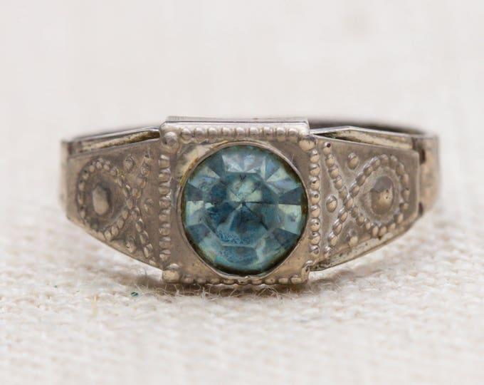 Light Blue Rhinestone Vintage Ring Silver Metal Patterned Etched Handmade Adjustable 7RI