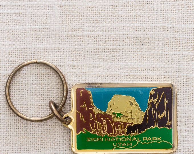 Zion National Park Vintage Keychain Utah Mountains US Landmark Park Key FOB Brass Key Chain 7KC