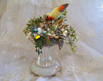 Vintage Jewelry Assemblage Forget Me Not Beatrice