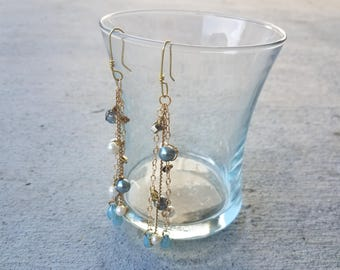 """Brass Chandelier Earrings with Blue Pearls and Blue Glass Beads, """"Alegria"""""""