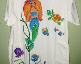Classic Mermaid Handpainted on CoverUp or SleepShirt Plus size