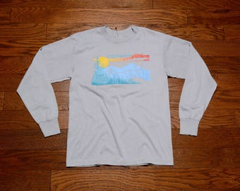 vintage 80s Colorado t-shirt Rocky Mountains sunset trees graphic 1980 CO long sleeve tee shirt M/L tourist travel souvenir hiking camping