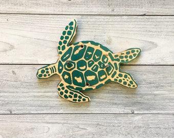 deep sea Turtle Hook, Key Hook, Reclaimed Wood Hook, Kid's Hook