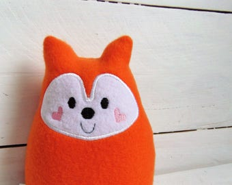 Soft Chubby Fox Plush Rattle/Baby Rattle/Kawaii Plush Fox/Baby Toy/Cute Plushie/Happy Stuffed Fox/Christmas Gift Idea/Handmade Baby Rattle