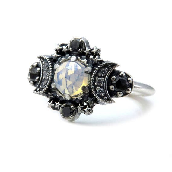 Cosmos Moon and Star Ring - Opalite Quartz with Black and White Diamonds