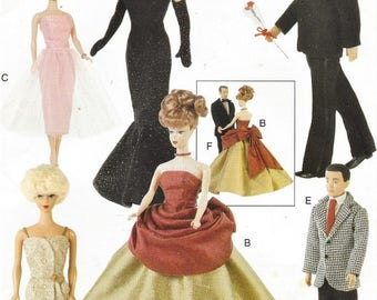 "90s 11 1/2"" Vintage Fashion Doll Clothes Evening Gowns and Tuxedo Ballgowns and Men's Suit Vogue Sewing Pattern 9894 UnCut"
