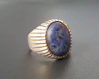 Vintage Mens Ring Sodalite Sterling Ring Size 9.5 Solid Sterling Flat Back