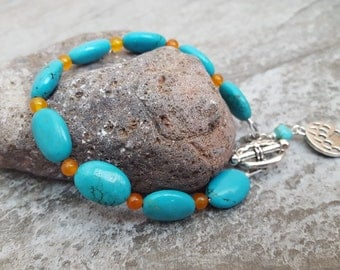 Beaded Blue Turquoise Orange Jade Bracelet, Natural Gemstone, Bear's Paw Charm Antique Silver Toggle Bracelet, Nature Lovers, 7 7/8 inches