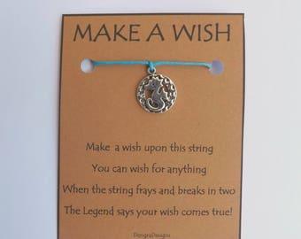 Seahorse Disc Silvertone Charm WISH STRING Bracelet String Friendship Bracelet  Amulet Lucky Stocking Stuffer