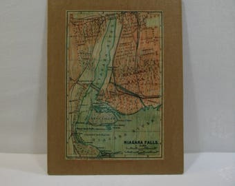 Niagara Falls Vintage Map Rustic Wall Art / Niagara Falls Map Wall Art / Map Wall Art Ready To Hang or Frame