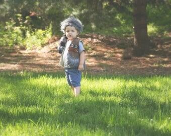 Adventure Costume Set // vest, satchel, coon skin cap // boys outdoor inspiration to play