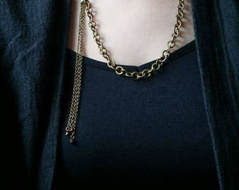 Bronze Chain with Side Chain Tassel Necklace - Bronze Necklace, Beaded Necklace