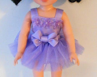 "Lavender ballet outfit fits 14 1/2"" dolls like Wellie Wishers"