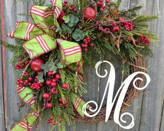 Christmas Grapevine Wreath with Plaid, Christmas Wreath, Winter Wreath, Christmas Fruit Wreath, Housewarming Gift, Wreath Initial