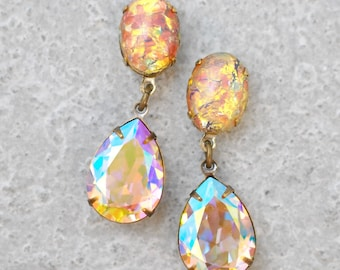 Rainbow Opal Bridesmaids Earrings Swarovski Crystal Blush Aurora Borealis Pastel Rainbow Vintage German Glass Stud Post Clip On Drop Dangle