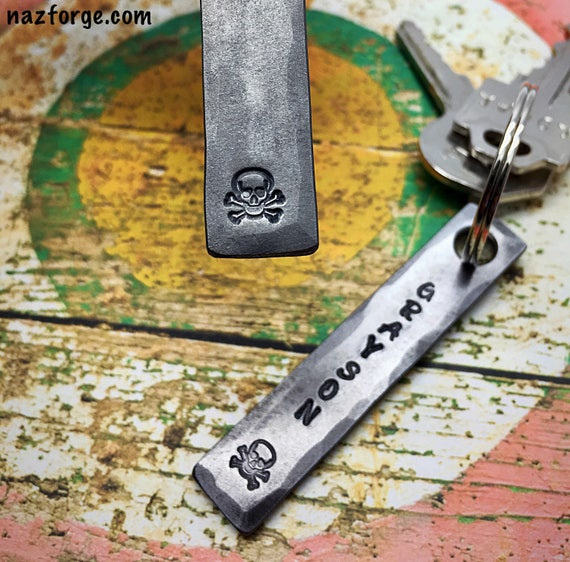 SKULL AND BONES Keychain - Personalization Option Available - Skulls - Skeleton Head - Dead Head - Personalized Gift - Metal by Naz Forge