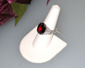Sterling Ring, Large Red Stone, Clear Butterflies, Vintage, New Old Stock w/ Tag, Size 7, Ladies Statement Ring, Woman's Gift