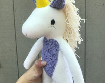 Cecily the Unicorn, unicorn, plush unicorn, unicorn doll, stuffed animal, stuffed unicorn, unicorn toy, organic plush toy, organic unicorn