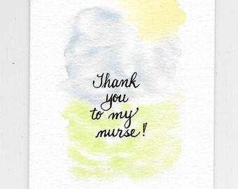 Nurse Thank You Card, Caregiver Card, Nurse Appreciation Card, Nurse Recognition, Original Watercolor Sunshine With Clouds and Grass