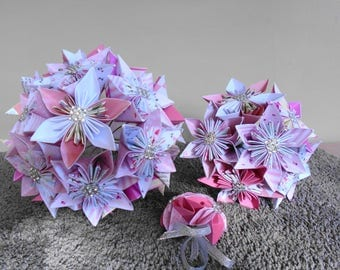 Ready made Origami Bouquet Set in Shades of pink, white Bow, Bridal Bouquet,Bridesmaid's Bouquet, Buttonhole