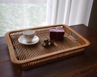 Square Vintage Bamboo Tray w/Handles - Boho, Mid Century, Natural, Ecletic