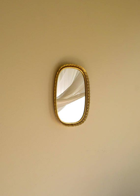 Small vintage oval shaped gold filigree mirror vanity / perfume tray - perfect to hold your crystals,  tiny bottles & baubles