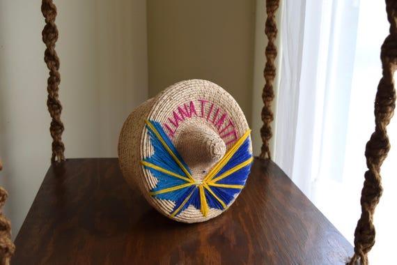 Vintage Woven Sombrero Basket ~ Boho, Southwestern, Natural, Folk